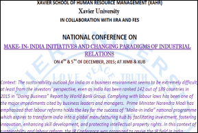 """National Conference on """" Make-in-India Intitiatives and Changing Paradigms of Industrial Relations """""""
